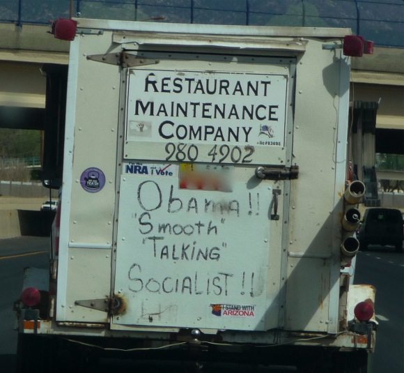 anti-Obama poster on truck